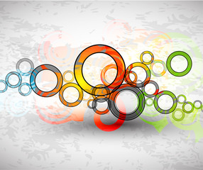 Vector abstract color grunge circles background