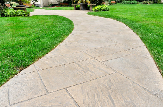 Paved walkway and lawn