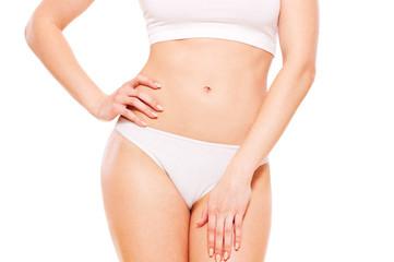 healthy woman's body in white underwear