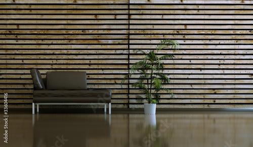 wohndesign braunes ledersofa vor holzwand stockfotos. Black Bedroom Furniture Sets. Home Design Ideas