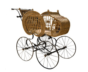 antique decorative baby wicker carriage, isolated