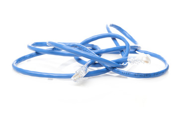 A blue ethernet cable