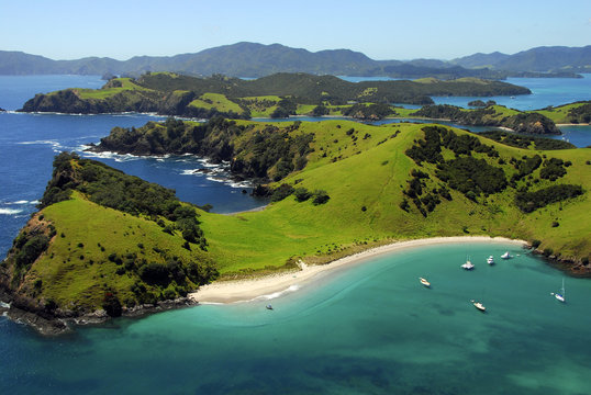 Aerial of Waewaetorea Passage, Bay of Islands, New Zealand