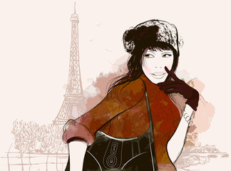 Photo on textile frame Illustration Paris woman in autumn