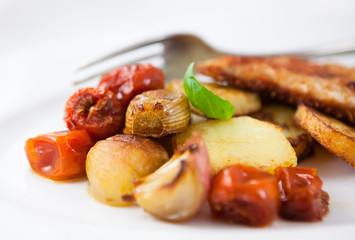 Rustic vegetable dish on a plate