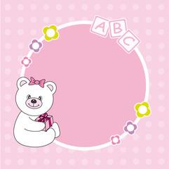 Portaretrato bebé niña. oso