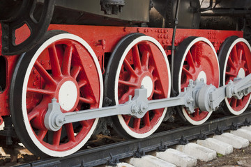 Wheels of the old steam locomotive