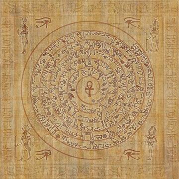 Magic sigil with egyptian hieroglyphs