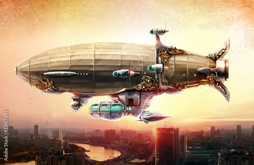 Wall mural Dirigible balloon in the sky over a city