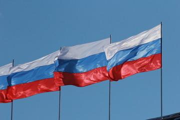Флаги России на фоне неба