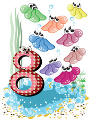 Sea animals and numbers series for kids -8,shells