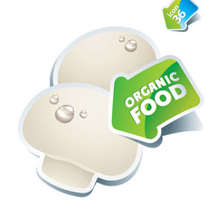Icon mushroom champignon with the arrow by organic food. Vector