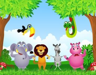 Animal cartoon holding hand