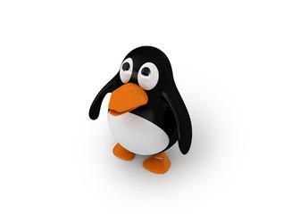 nach oben blickender Pinguin (mit Freistellungspfad)