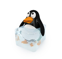 eingefrorener Pinguin (mit Freistellungspfad)