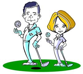 caucasian golfer couple /clipart