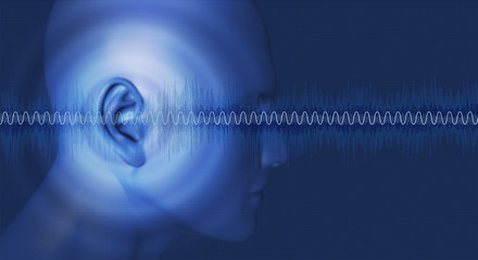 Head with Sound waves passing through ear