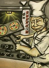 Graffiti de un cocinero sacando pizzas del horno