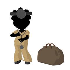 Little African American Doctor Girl Illustration Silhouette