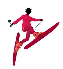 African American Skier Girl Illustration Silhouette