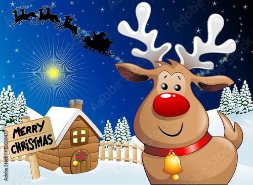 Sfondi Natalizi Renne.Renna Natale Cartoon Sfondo Cartoon Reindeer Background Vector