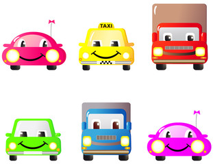 A set of colorful fun and cute cars and toys. Cartoon.