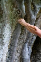 climbers hands on rock