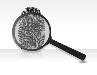 Illustration of a magnifying glass over a fingerprint