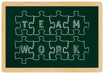 business concept: teamwork,chalkboard,vector