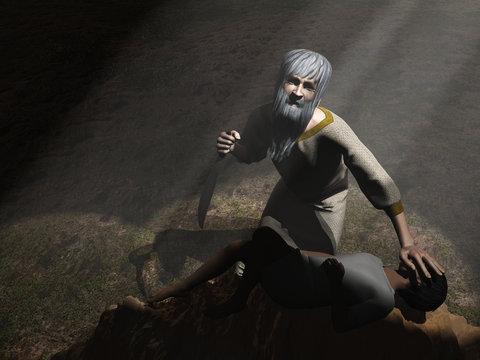 God intervenes before Abraham sacrifices Isaac