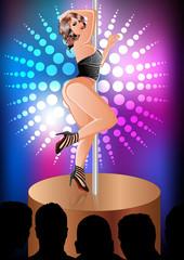 Eine nette Frau die einen Striptease vor Publikum auflegt