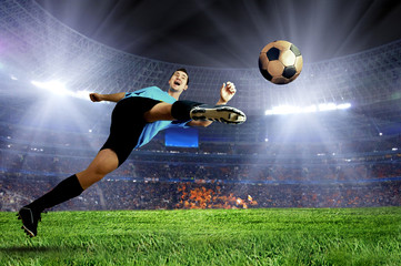 Door stickers Soccer ball Football player on field of stadium