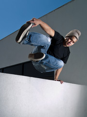 side view of parkour jump