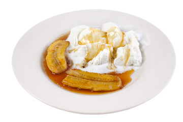 Roasted banana with ice cream, isolated on white