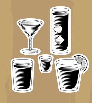 Woodcut cocktails set