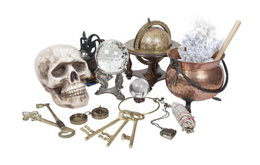 Skull, Keys, Copper Pot, Crystal Ball and other Witch Desk Items