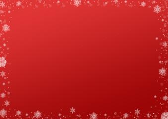 Fond rouge contour flocons de neige