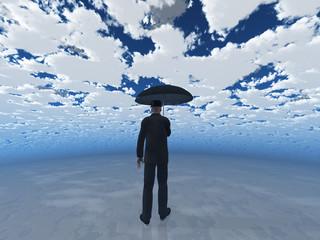 man with umbrella under cloudy sky