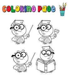 Coloring page with owl teacher