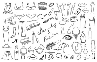 beauty and fashion items vector set
