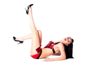 Girl in red underwear