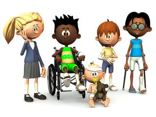 Five injured cartoon kids.