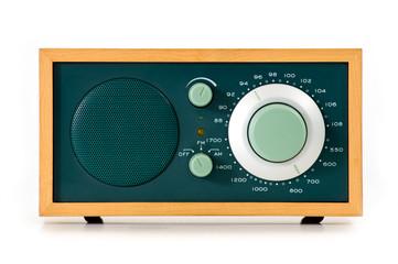 Vintage radio over white background.