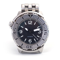 Diver watch over white background.