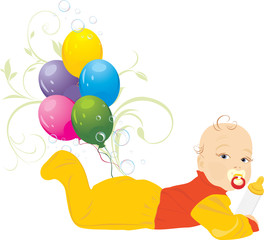 Baby and colorful balloons