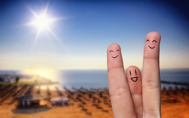 Happy finger hug on beach
