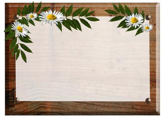 Holz Schild Tafel Blumen