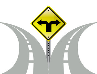Decision choice direction arrows road sign