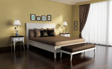 Classic, white and gold, luxury bedroom, with wenge wood floor