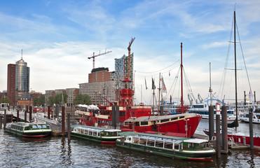 Hamburg port with ships